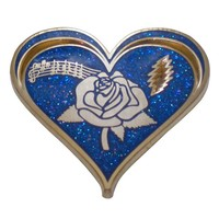 Wholesale custom metal blue Heart with American Beauty Rose, music notes pin badge