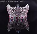 De moda del metal plateado cristal llena roound belleza coronas de la reina