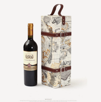 Luxury map printed faux leather wine carrier;pu leather wine carrier;leather wine carrier