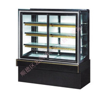 Natural marble base with tempered glass cake display showcase upright