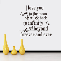 ZOOYOO I Love You Forever and Ever innovative stickers black quotation sets stickers beautiful love words wallpapers (8261)