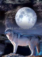 Free sample animal wolf and moon lenticular 3d picture/Plastic lenticular picture