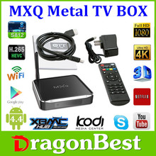 Amlogic S812 quad core set top box metal MXQ with all metal case and display