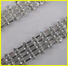 Silver & Gold Plated Glass Crystal Material Crystal 4 Rows Rhinestone Chains Trim