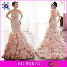 China Factory Luxury Backless Sexy Bling Beads Ruffles Blush Pink Organza Mermaid Wedding Dress