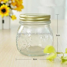 300ML/500ML/1L bluk clear wholesale glass jars with screw slink lid for jam honey for kitchenware