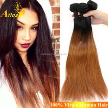 Brazilian Virgin Straight Hair 1B 30 Ombre Hair Weave Bundles Cheap Brazillian Two Tone Color Hair Extensions