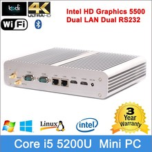 tower computer intel cpu mini core Broadwell dual display dual ethernet linux mini pc support 4K resolution RJ45 LAN