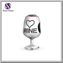 925 sterling silver little cute wine glass red cz charm for fashion charm bracelet