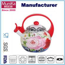 Munika 2.5L porcelain enamel kettle and teapot/2.5L carbon steel sounded whistle teapot water pot porcelain coated coffee pot