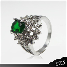 Cheap wedding alloy green diamond ring