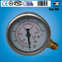 63mm 2.5 inch half stainless steel silicone oil filled pressure gauge 7 kg bar 100psi
