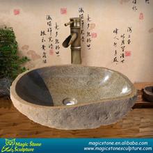 Round stone granite garden basin
