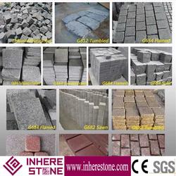Low price flamed brushed granite paving