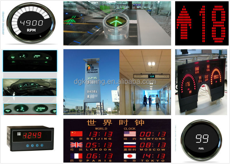 Ultra red 0.4041inch 4 digits large display digital wall clock