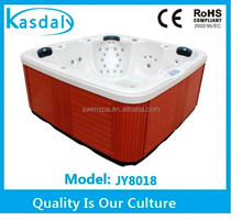 retail 5 person plastic and wood skirt spa hot tub