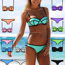 neoprene bikini factory, pink neoprene bikini manufacturer, halter neck swimwear