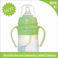 2015 New Design BPA Free 120 ml bottom price durable silicone feeding bottle, eco-friendly silicone baby feeding bottle