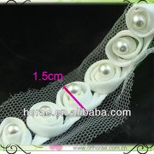 Adorno de tela con perlas, prendas de vestir de recorte de encaje de diseño