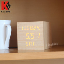 Desktop Wooden Decorative Orange LED Wholesale Digital Alarm Clock with Snooze Function
