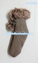 Floor Indoor Socks , Knitted Warm Socks,Ladies thickness Floor socks with Sequin and Fake Fur
