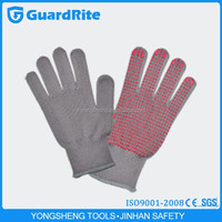 GuardRite brand 25cm girls plain cotton gloves for industrial with red dotted made in china