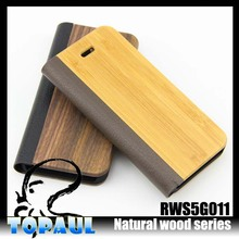 Popular style customize flip PC wood phone cover case for Samsung Galaxy S5