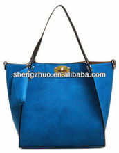 Suede Lady Fashion Handbags With Detachable Pouch