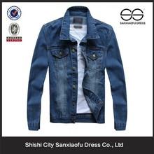 New Design Fashion Denim Jackets Men, Slim Fit Custom Blue Jean Jacket Wholesale