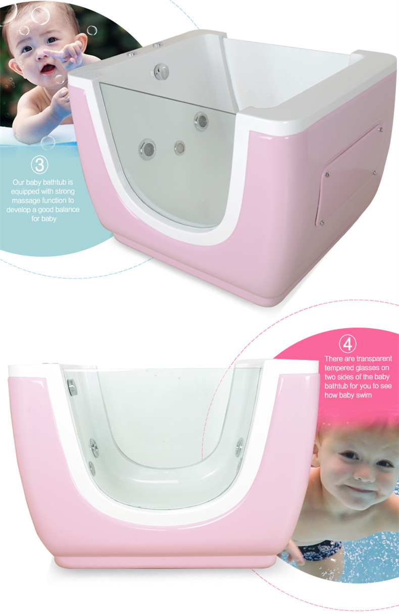 Hydro standing baby spa massage bath with glass support, View baby ...