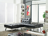 Living Room Good Quality Black PU Folding Sofa Bed