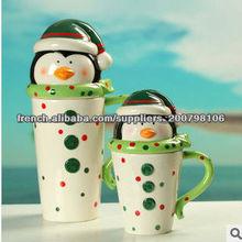 mode pingouin forme en céramique tasse de café de dessin animé avec couvercle