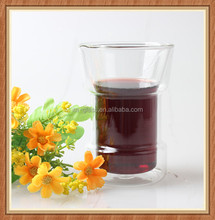 Eco-friendly coffee tea drinking factory OEM hand made customized logo clear glass mug tumbler 8OZ double wall glass beer cup