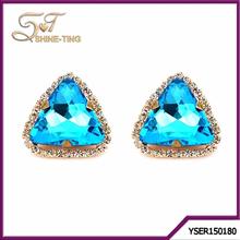 Europe market hot sale jewelry ladies triangle crystal stud earring