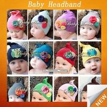 Cute crochet baby hat knit children hat with flower SFUH-011