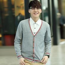 New Korean Men's Cardigan Fashion Designed Slim Fit V-neck Sweater