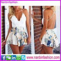 Beautiful skirt floral backless beach dress white dress