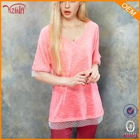 50 cotton 50 polyester t shirts v neck oversize t-shirt for women,online shopping for clothing
