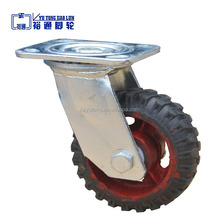Factory direct sale industrial swivel rubber casters, fixed rubber caster wheel