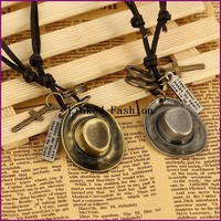 YiWu Factory unique men hat pendent genuine leather necklace