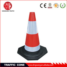 Made of natural rubber with Red and White Reflective film Soft Rubber Road Cone