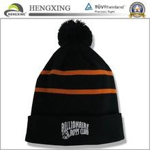 Fashion Unisex Yellow Minion Beanie Custom Knit Winter Hats With Pom Poms