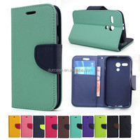Fancy Dual Colour Flip Case Cover For Samsung Galaxy Core 2 Duos G355H TPU inside holder stander function