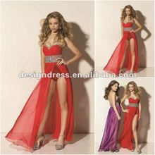 Sexy Chiffon Sweetheart Red Front Hot High Slit Sequined Pictures Of Women In Nightgowns Party Dresses