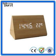 High quality modern creative triangle LED digital wooden table clock