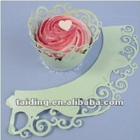 Laser cutting hollow Cupcake Wrapper paerl paper material for Cake Decoration