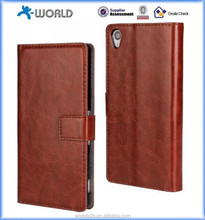 Flip Leather Wallet cellphone Case Cover skin Card Holder Stand Wallet case For Sony Z4