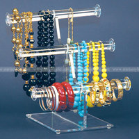 Triple Acrylic bracelet display Stands, 3 Tiers Lucite necklace Display Rack Riser, Plexiglass Bangle Display Holders