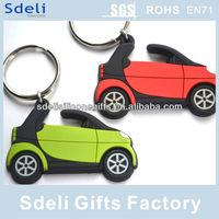 Factory OEM custom 3D injection car soft pvc rubber keyring