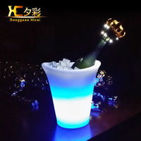 Rechargeable LED Ice Bucket Glowing Plastic Wine Bin Cooler